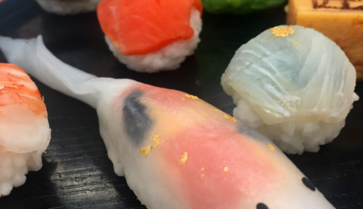 大松松坂屋のお歳暮 錦鯉のお寿司、ダニエルさんのフィンガーフード